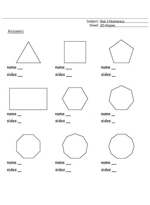 Shapes and Sides Worksheets for 3rd Grade