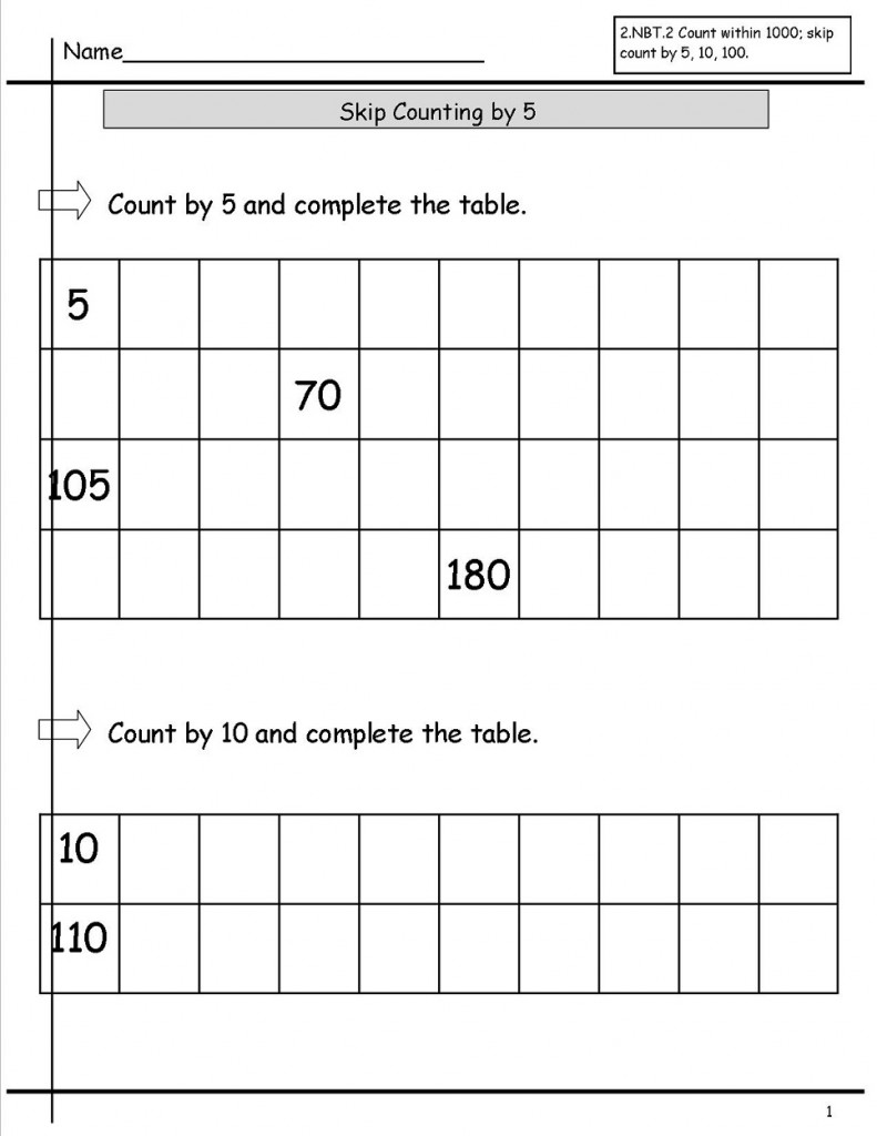 Skip Count by 5 Worksheet 200
