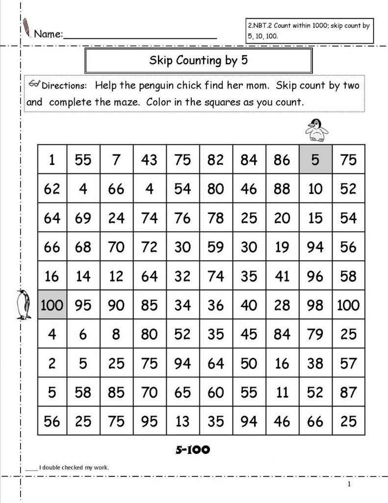 Skip Count by 5 Worksheet Game