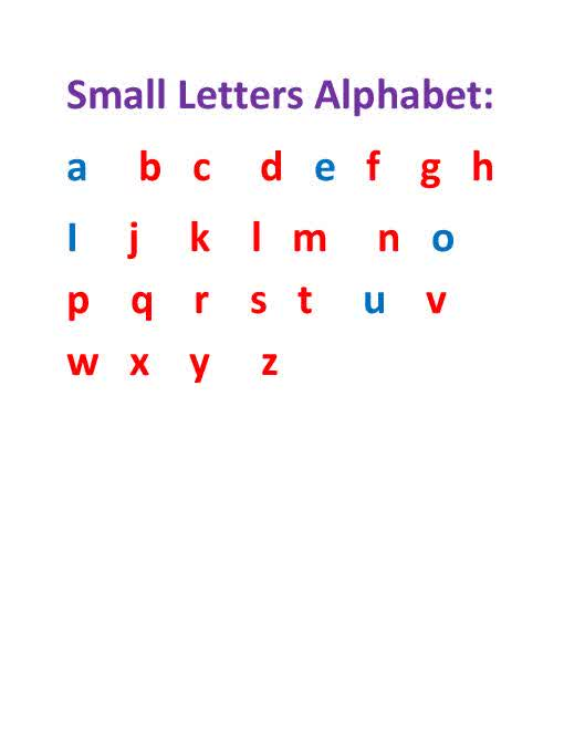 Small Alphabet Letters a-z