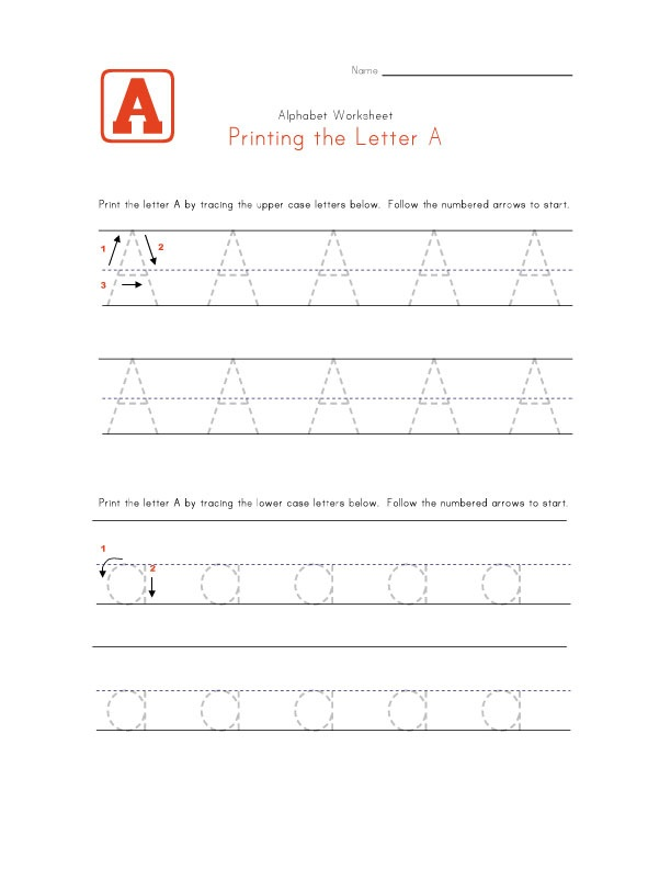 Traceable Letters Worksheets A