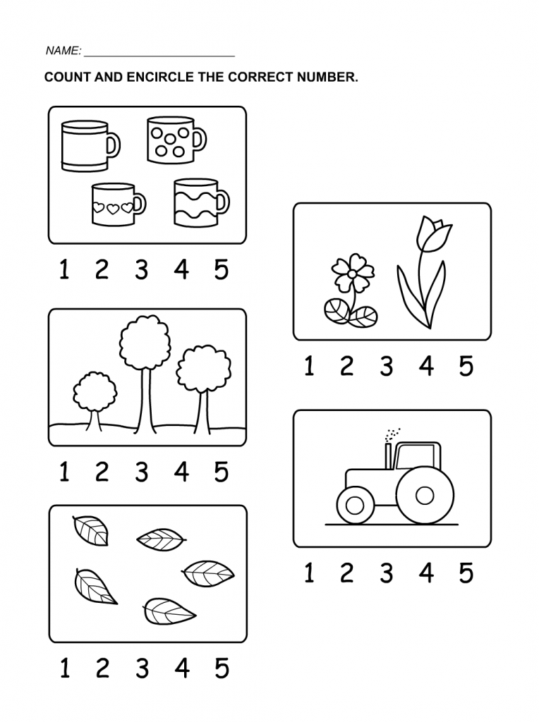 Worksheet for Numbers Counting