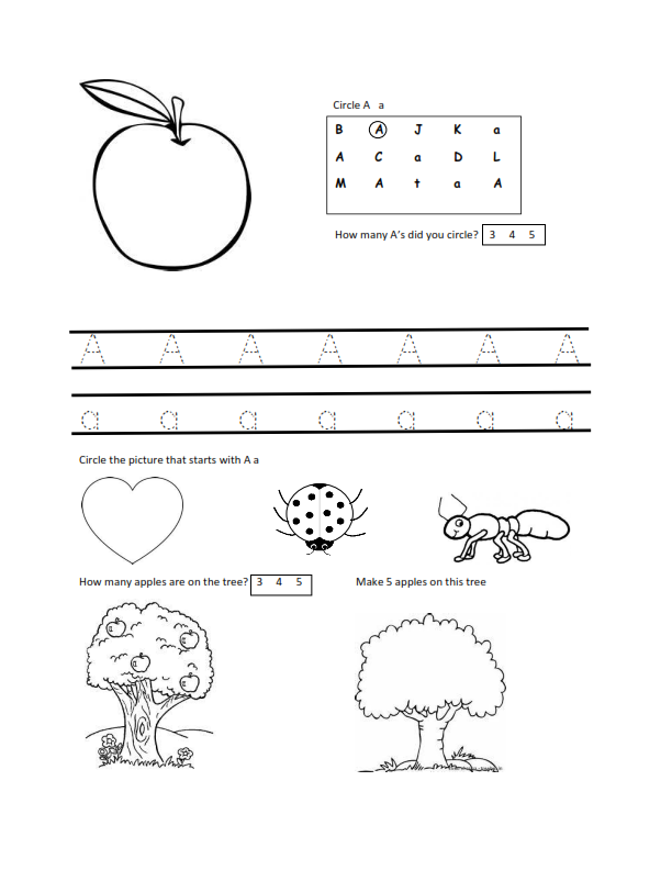 Worksheets for 3 Year Olds A