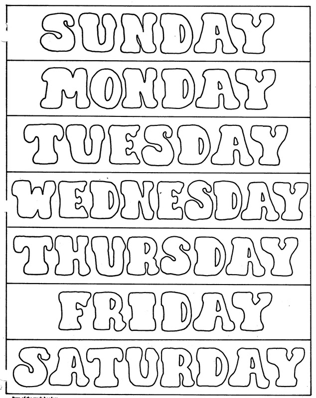 Days of the Week Activities Coloring