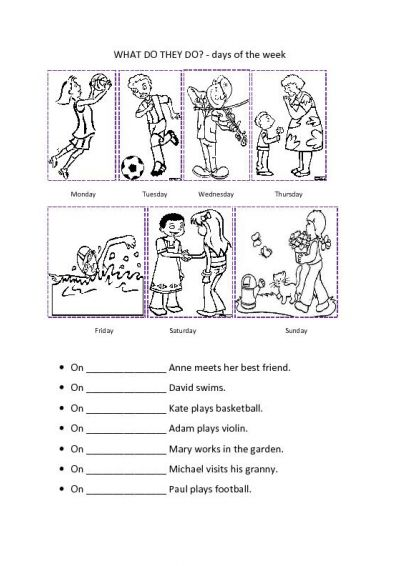 Days of the Week Activities Worksheets
