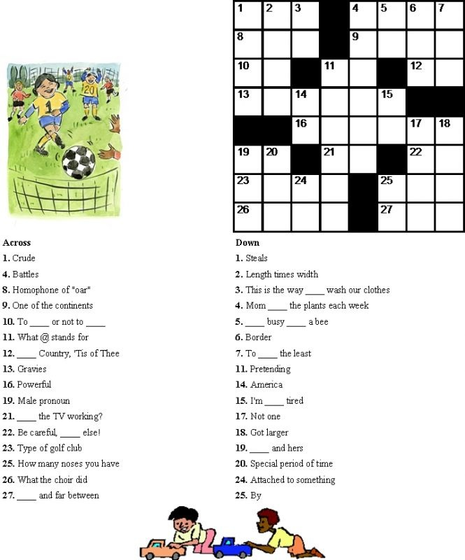 Easy Kids Crossword Puzzles Activities