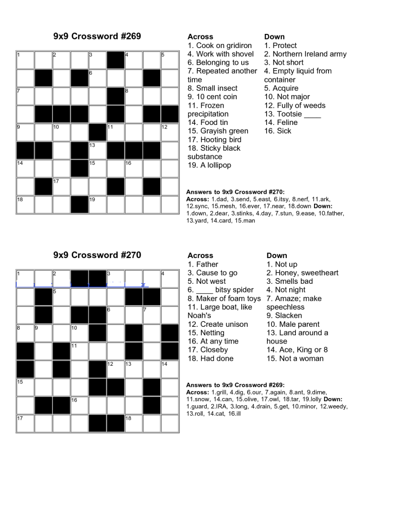 Easy Kids Crossword Puzzles to Print