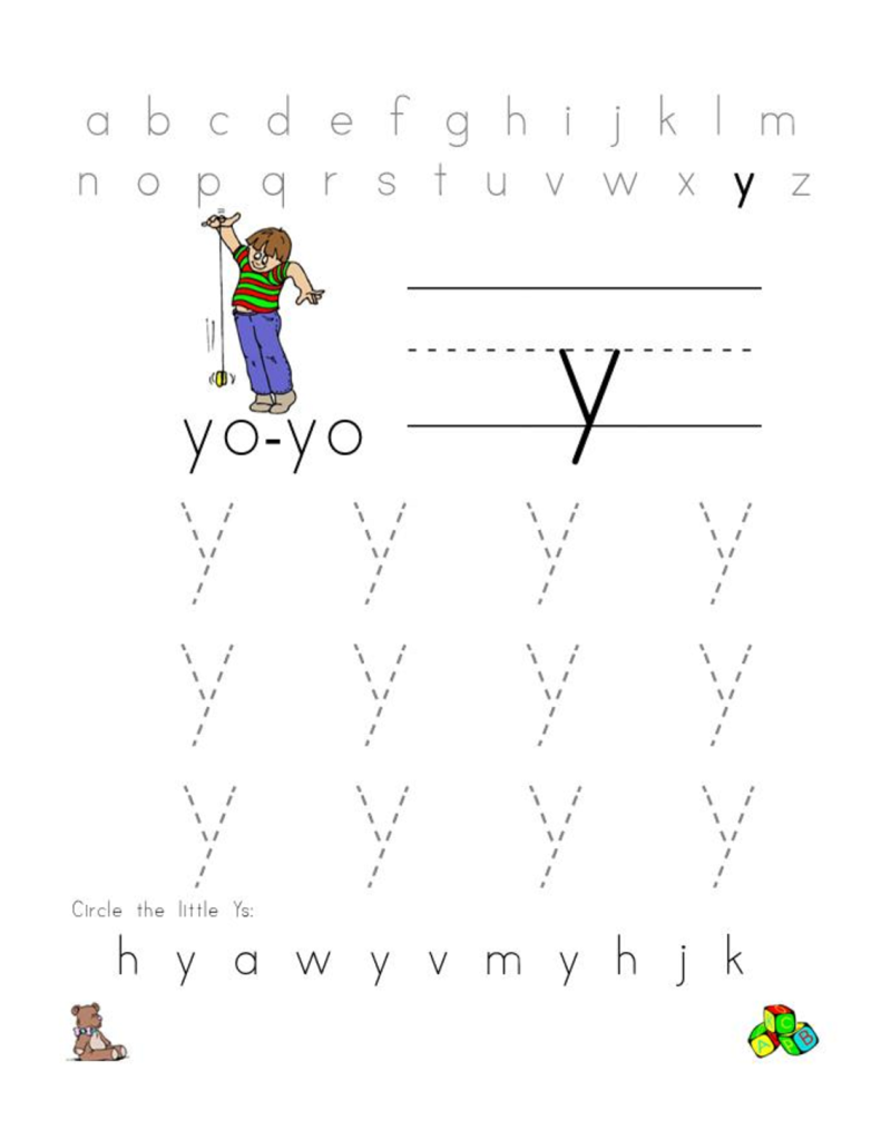 Letter Y Worksheet Lowercase