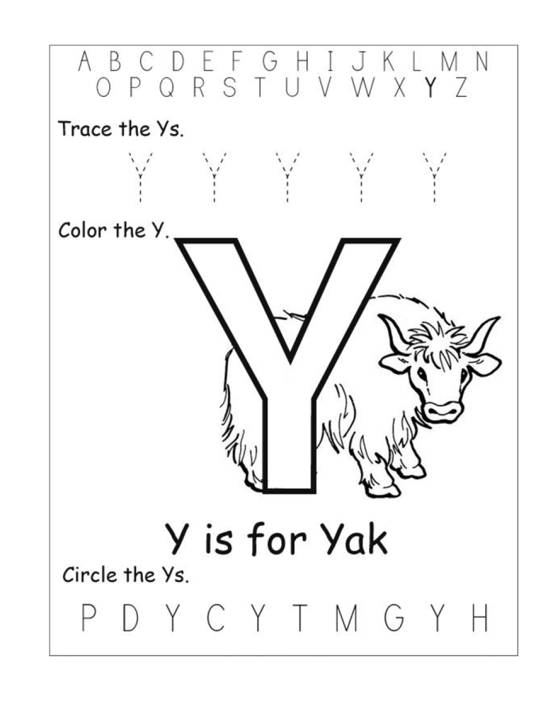 Letter Y Worksheet Tracing