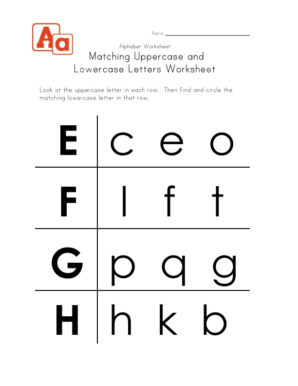 Lowercase Letters Worksheet Matching
