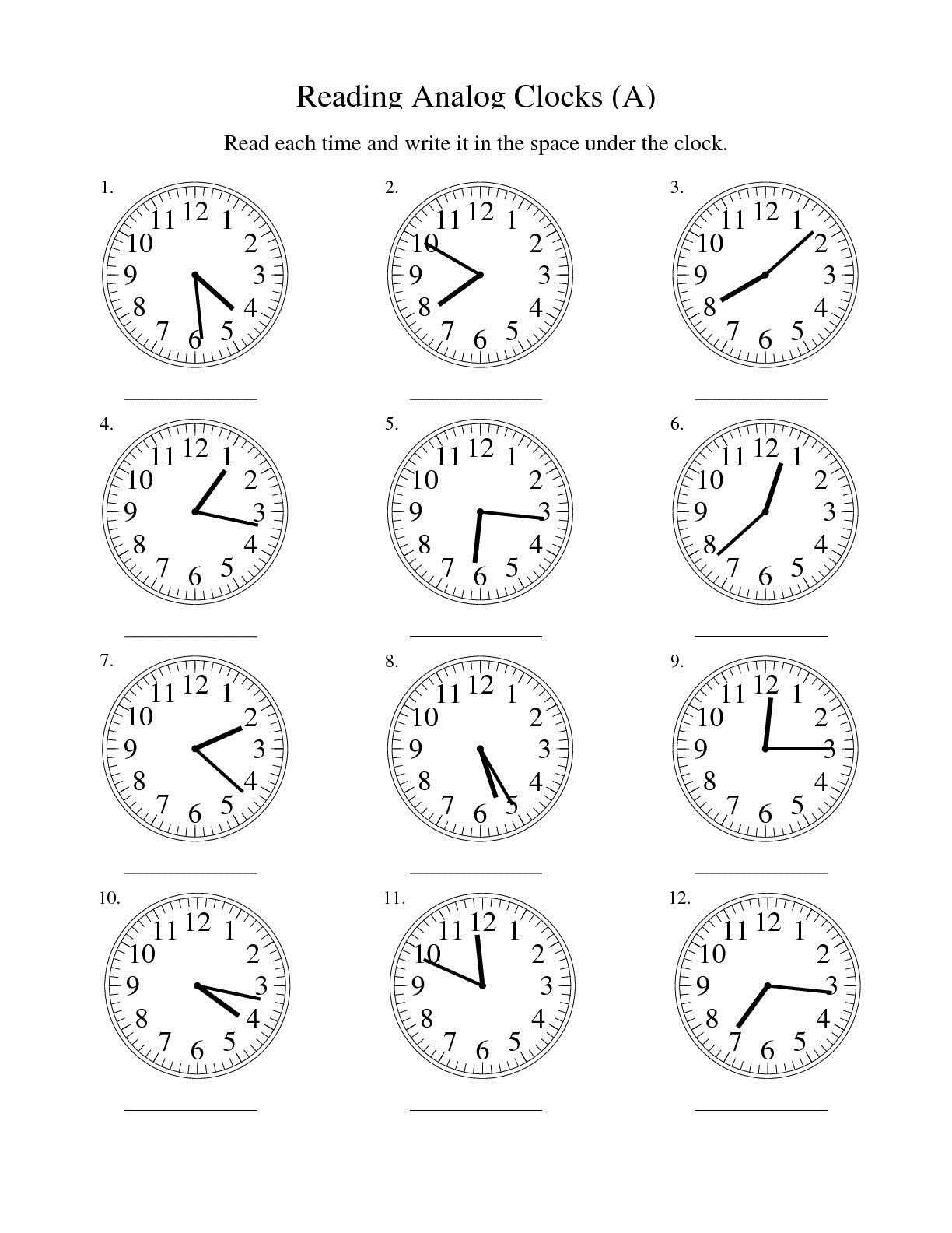 blank clock worksheet reading analog clocks
