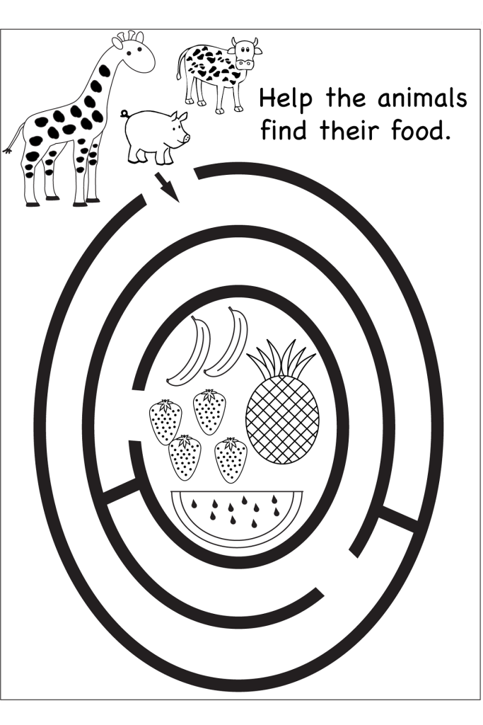 free maze worksheets animals food