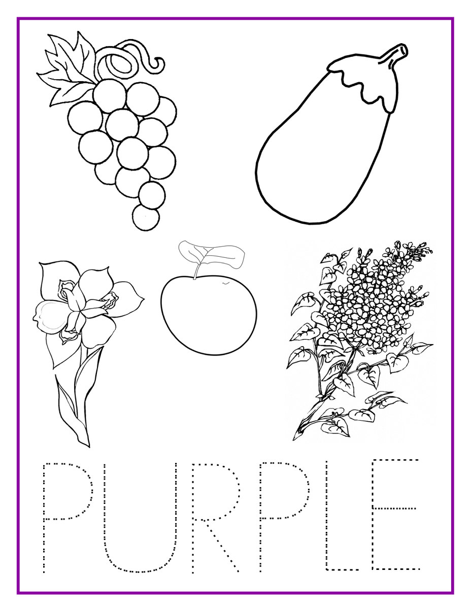 kids activity sheets purple tracing and coloring