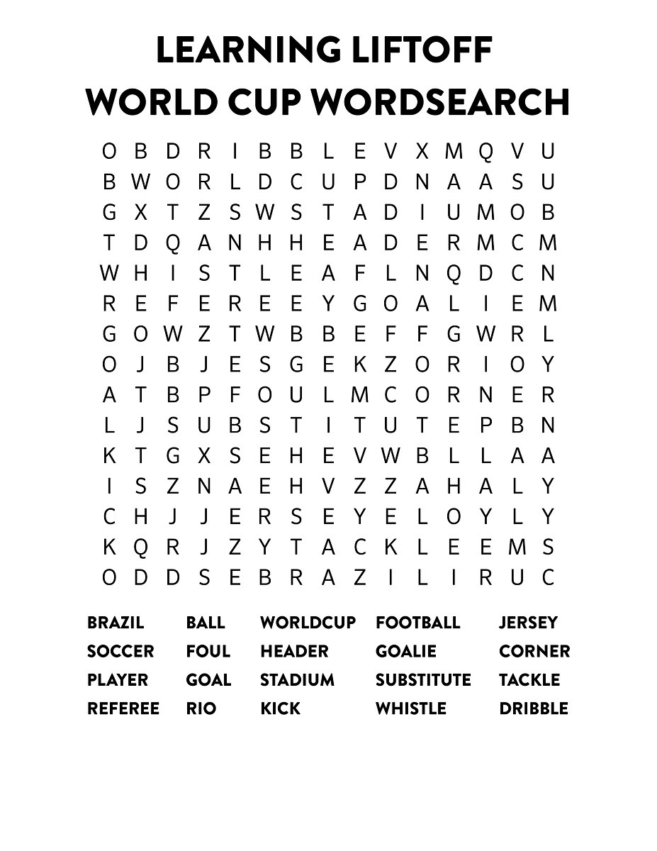 word search football word cup