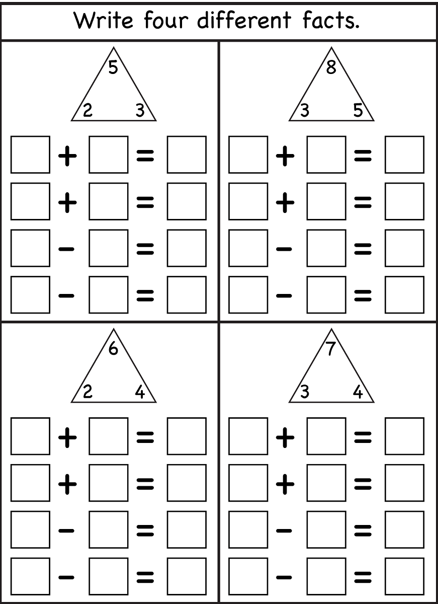 blank fact family worksheets printable
