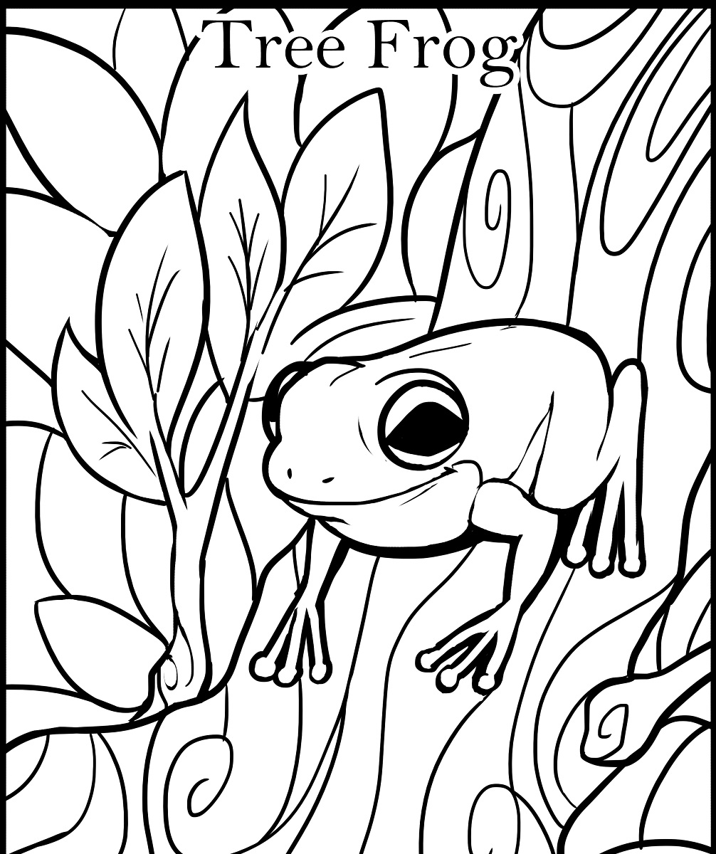 frog color pages tree frog
