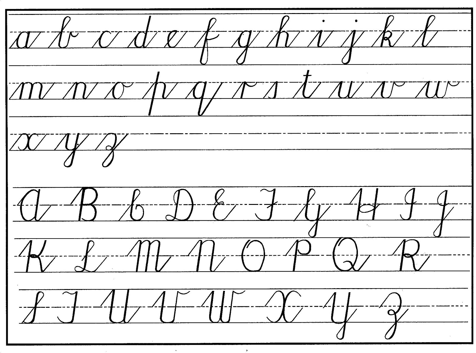 uppercase and lowercase letters cursive