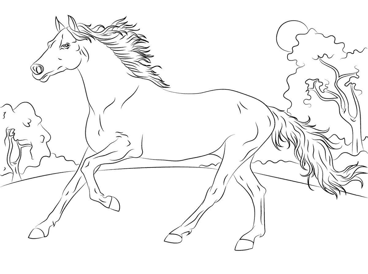 color-pages-of-horses-for-children