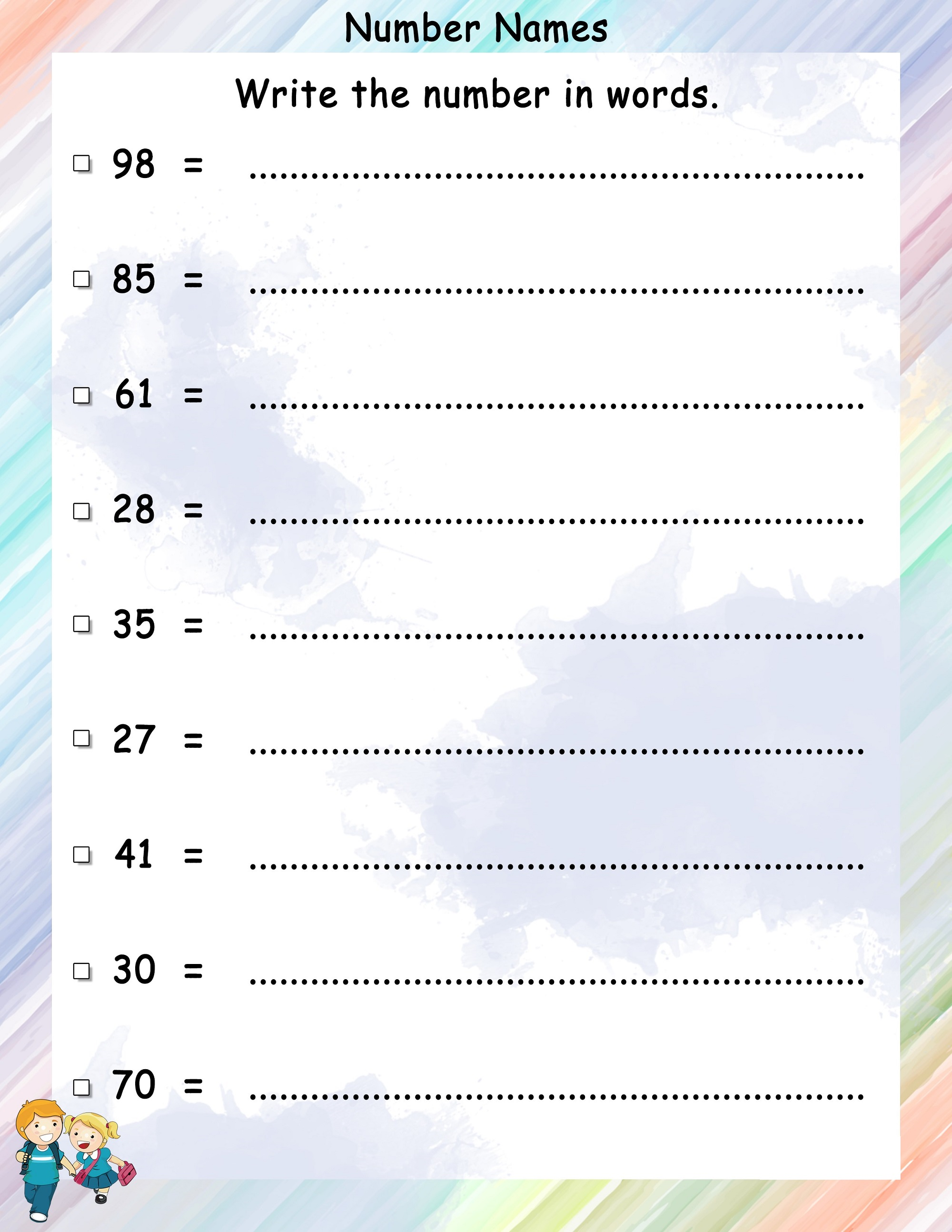 number-names-worksheet-activity