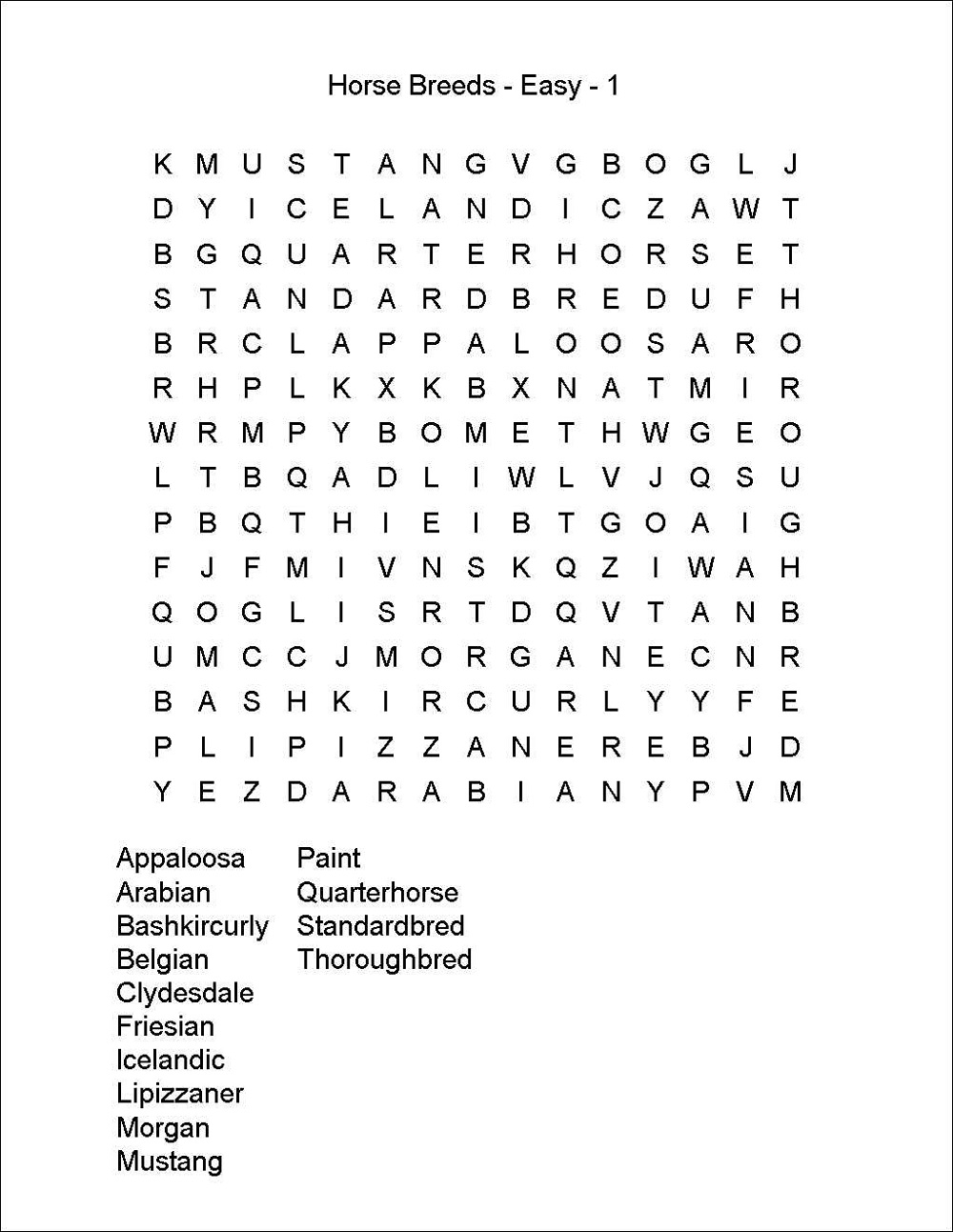 horse-word-search-easy