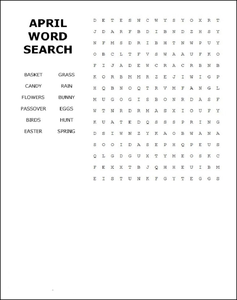 april word search page