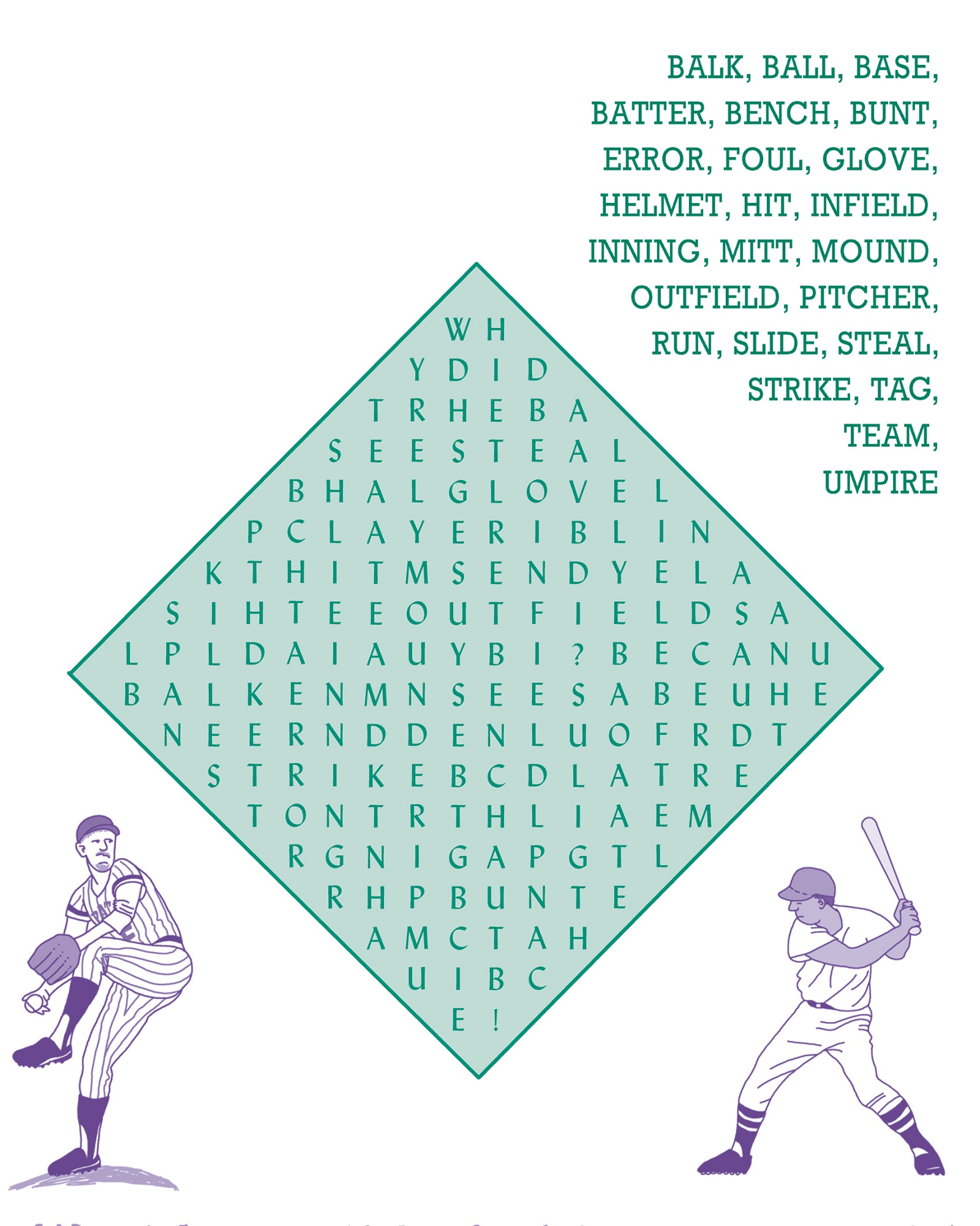 baseball activities for kids page