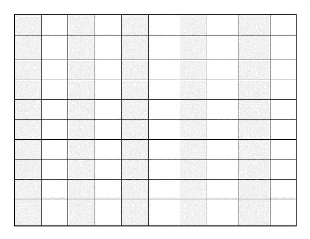 blank number chart 1-100 page