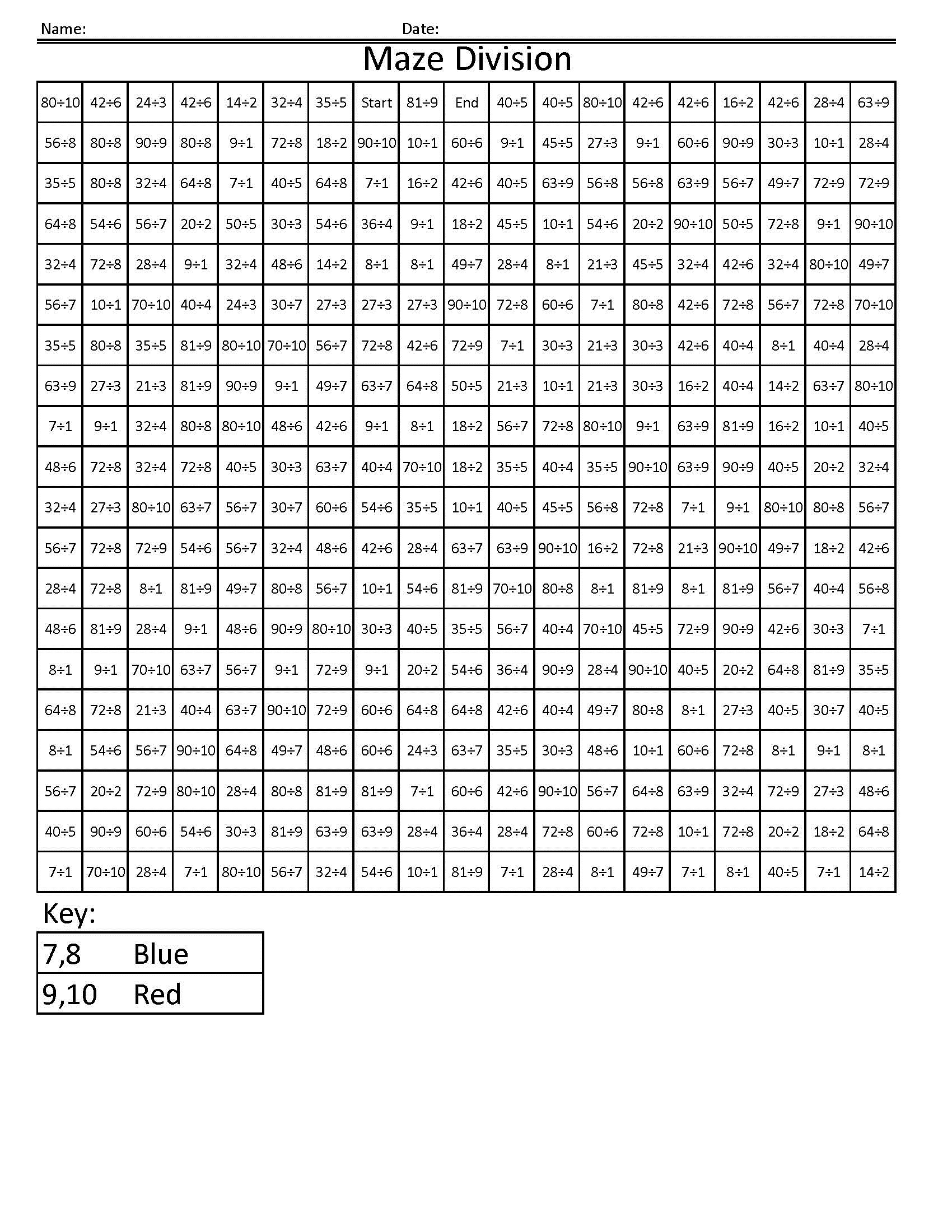 math maze worksheets page