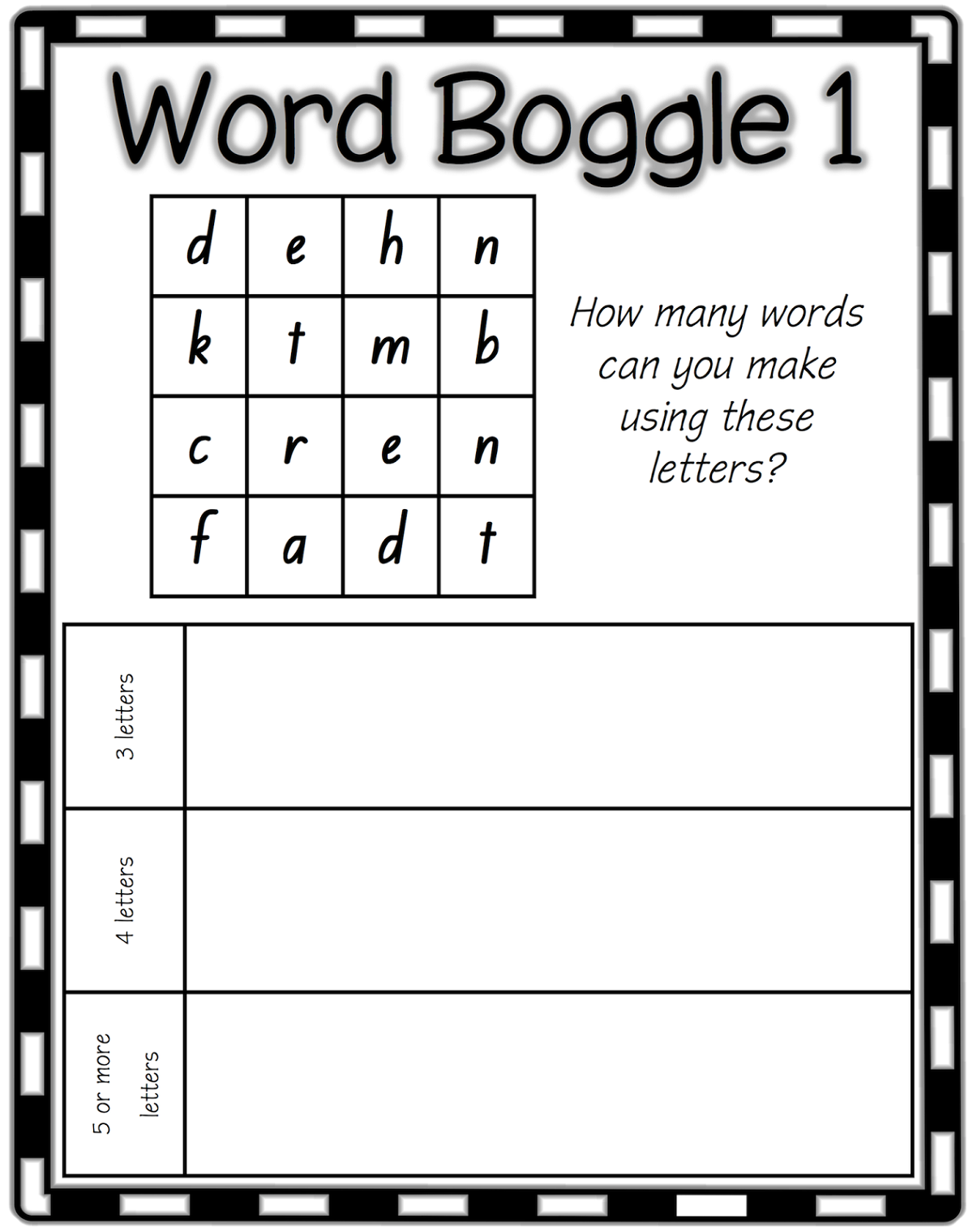 boggle word game sheet