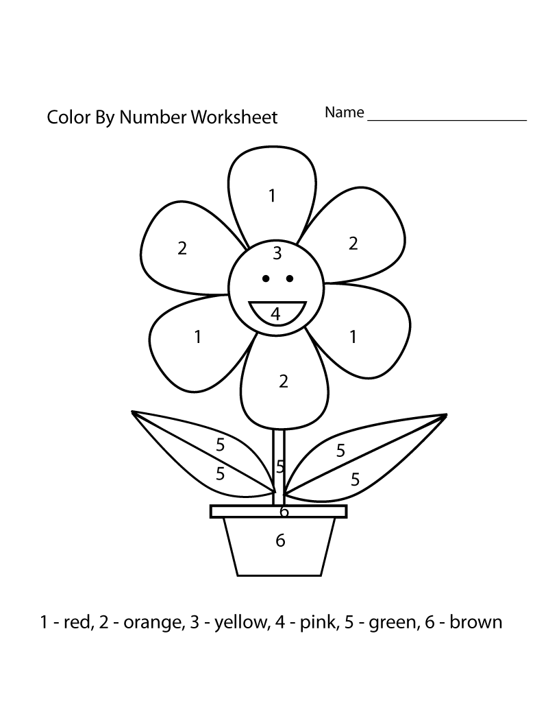 color by numbers worksheets easy