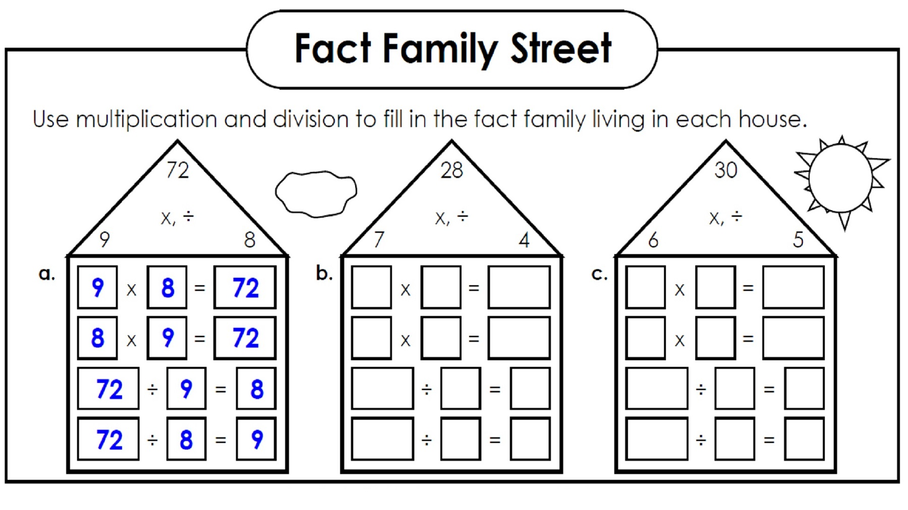 family facts worksheets practice