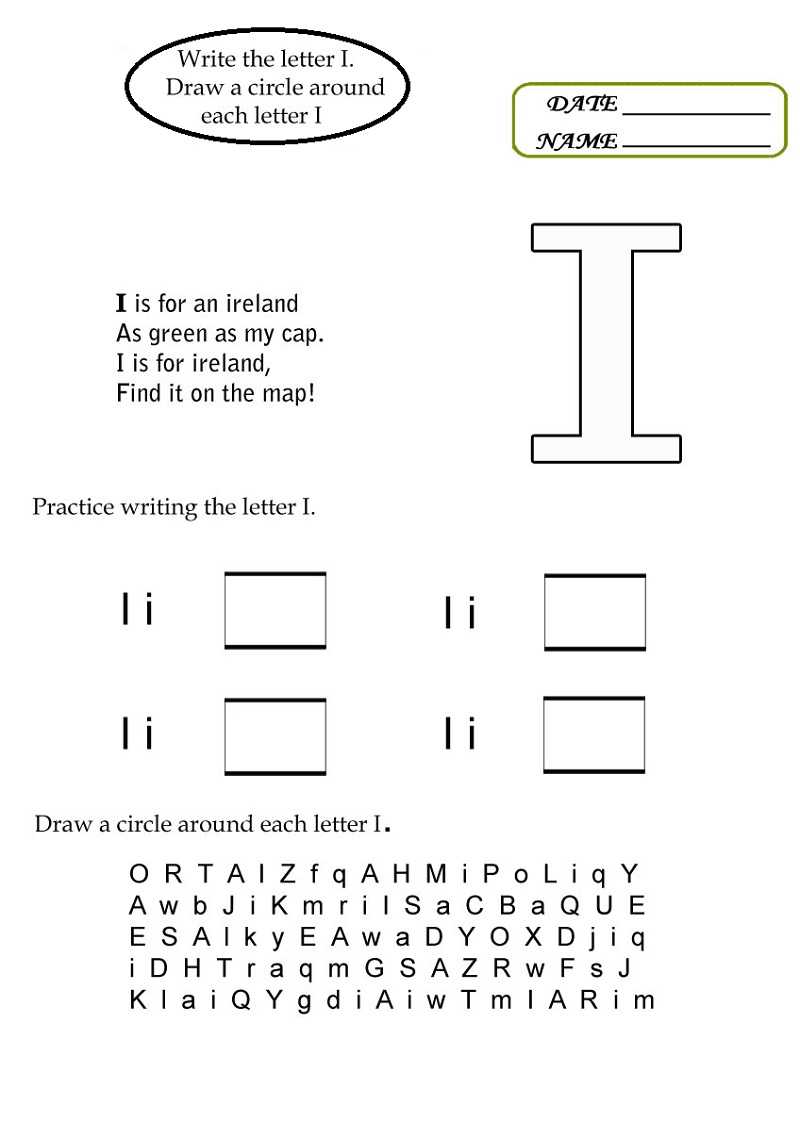 letter i worksheets activity