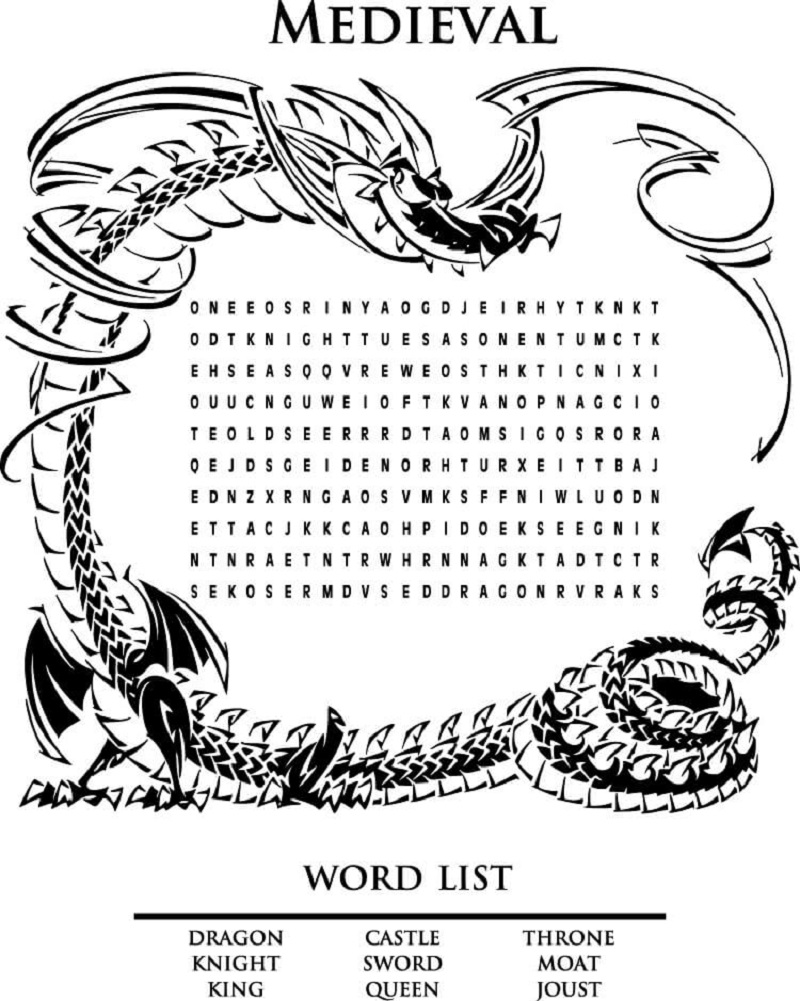 medieval word search page