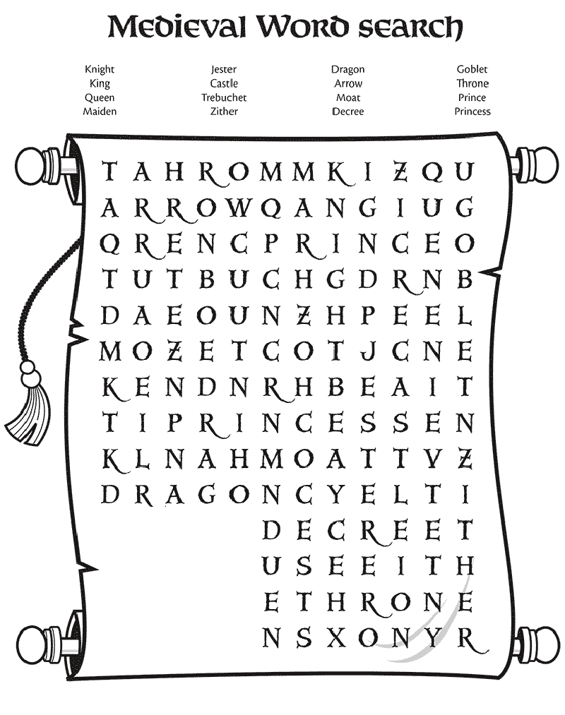 medieval word search sheet