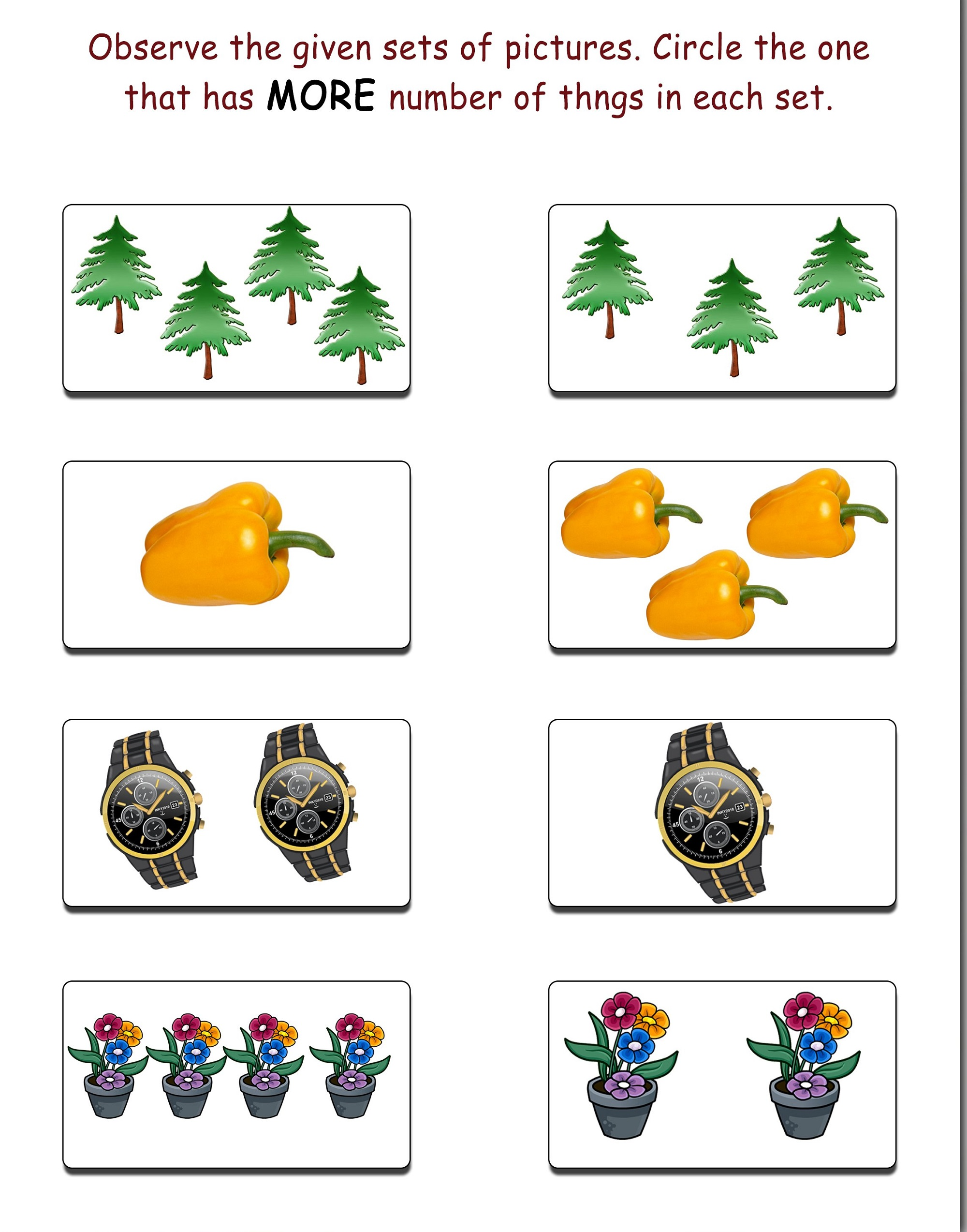 more and less worksheets for kids