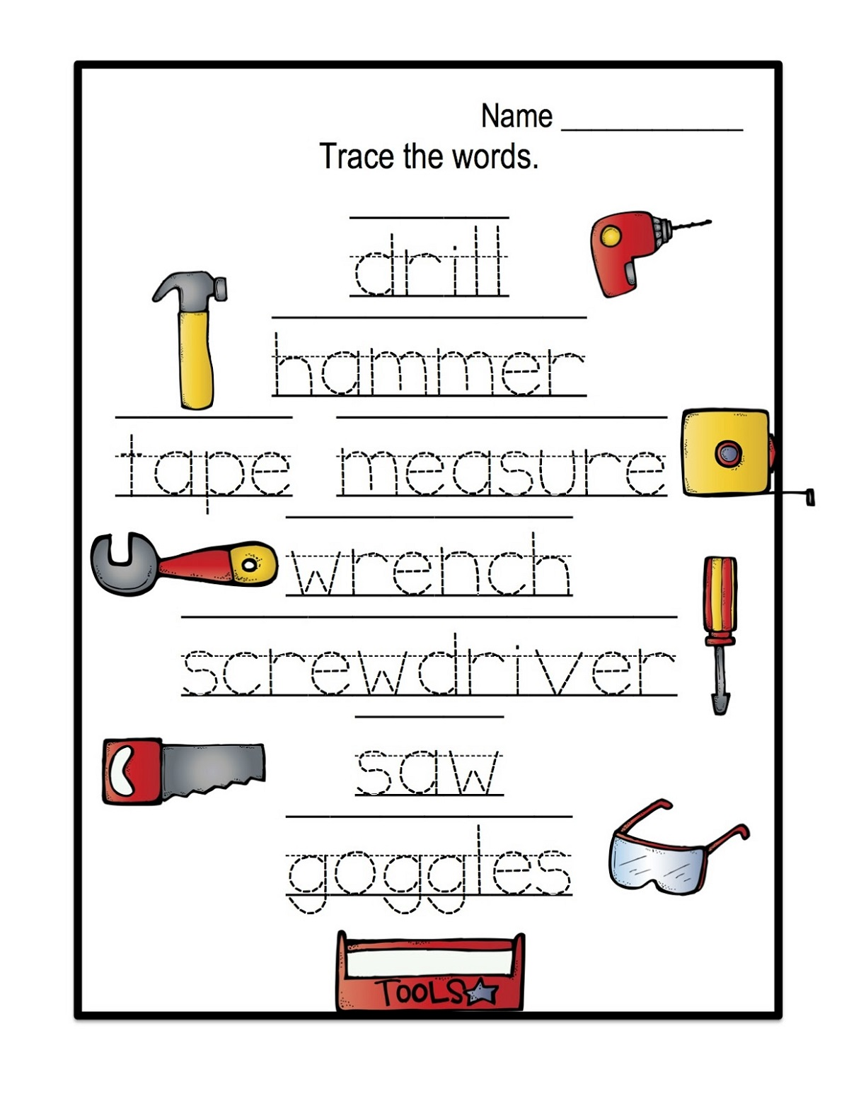name trace worksheets activity