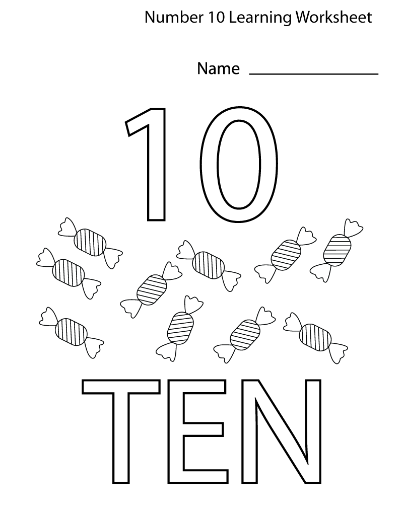 number 10 worksheets for kids