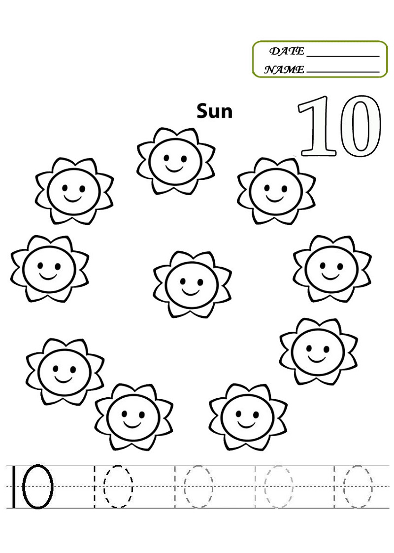 number 10 worksheets printable