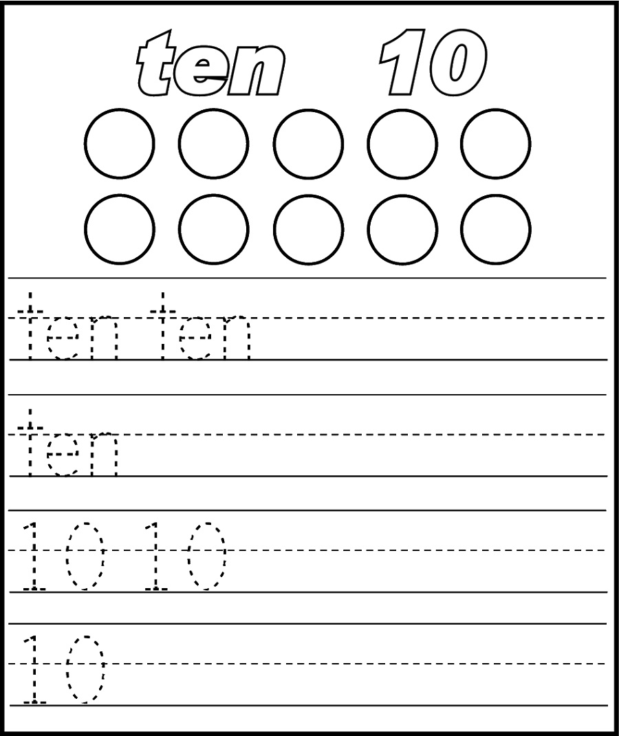 number 10 worksheets tracing