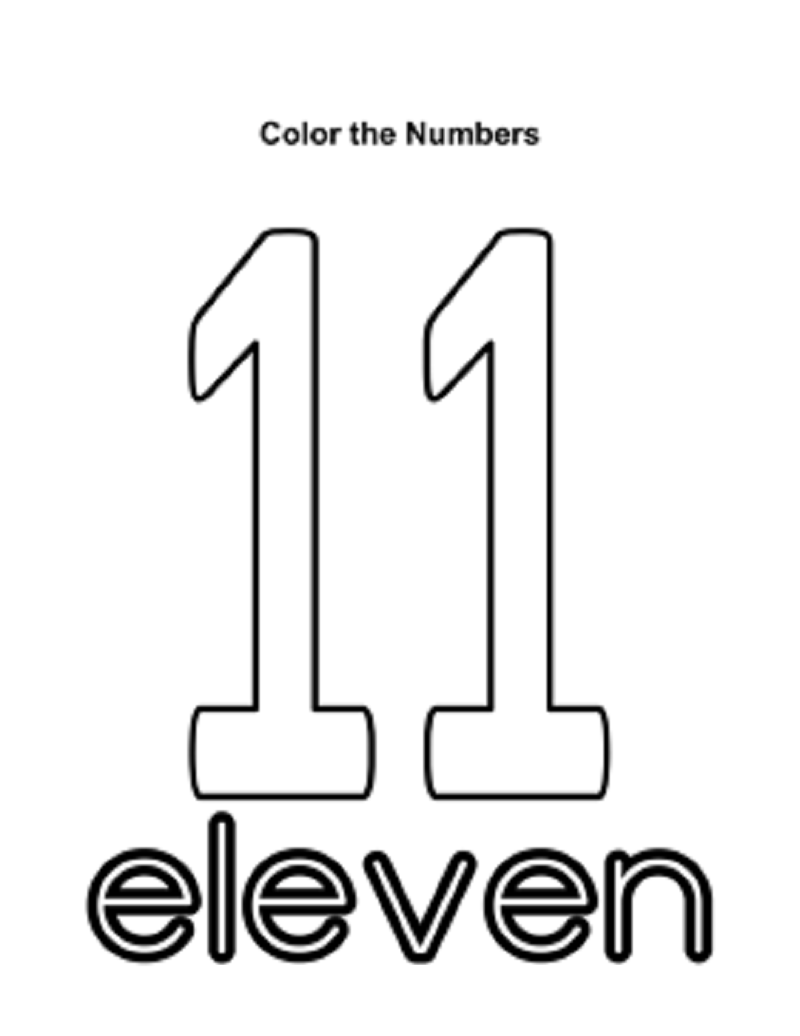 number 11 worksheet for kids