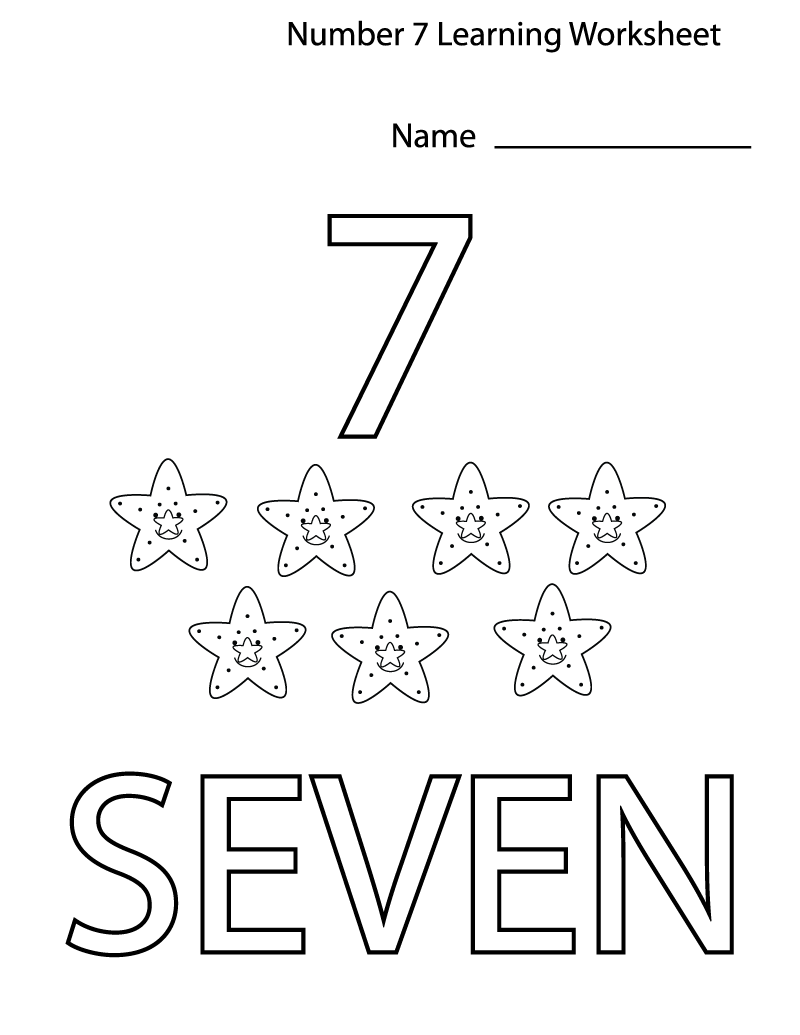 number 7 worksheets easy
