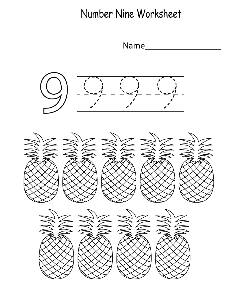number 9 worksheets for kids