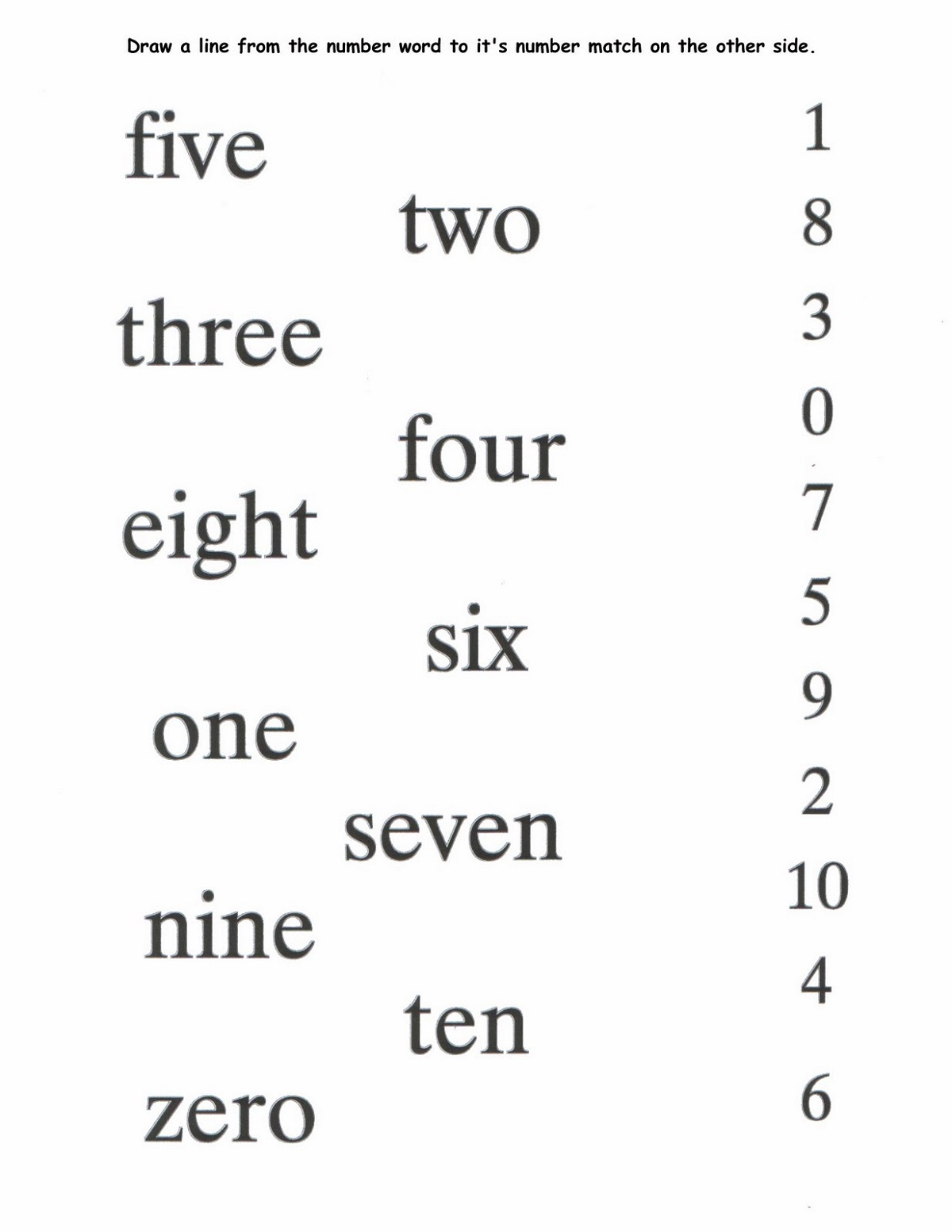 number words worksheet easy
