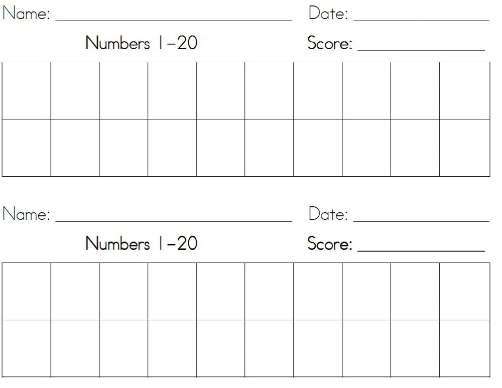 numbers 1-20 worksheets activity