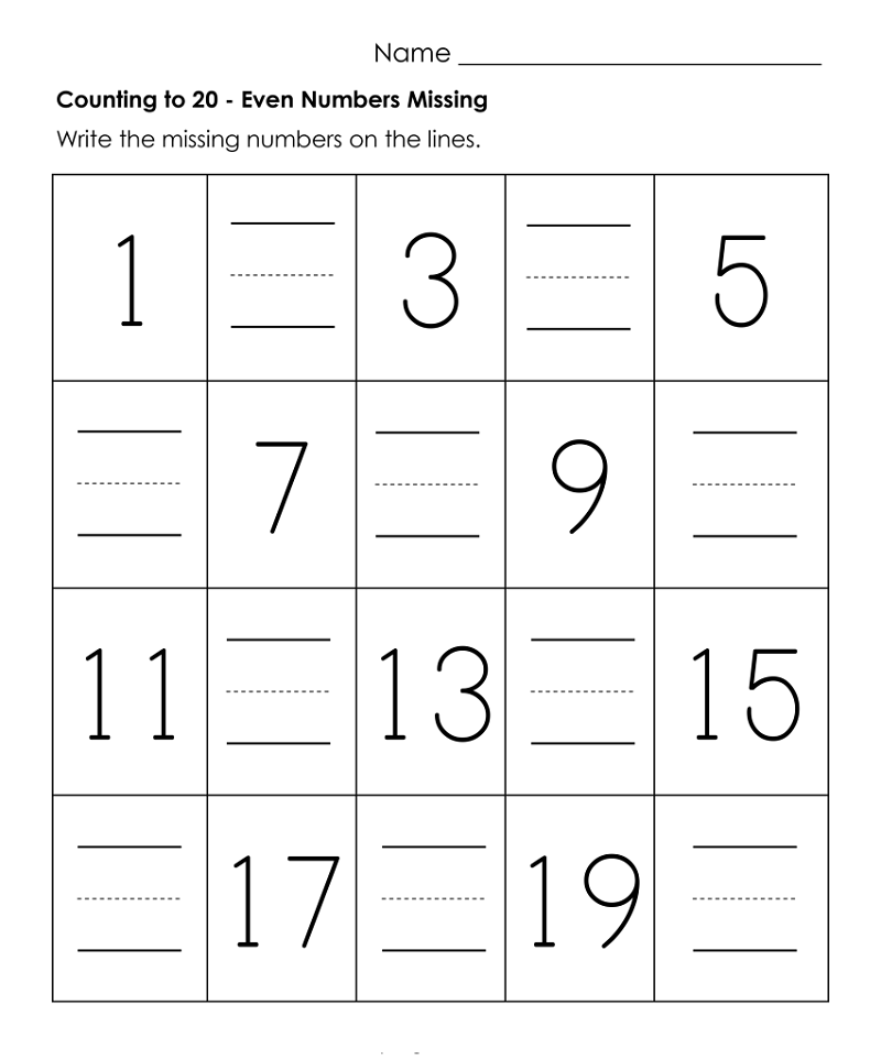 numbers 1-20 worksheets practice