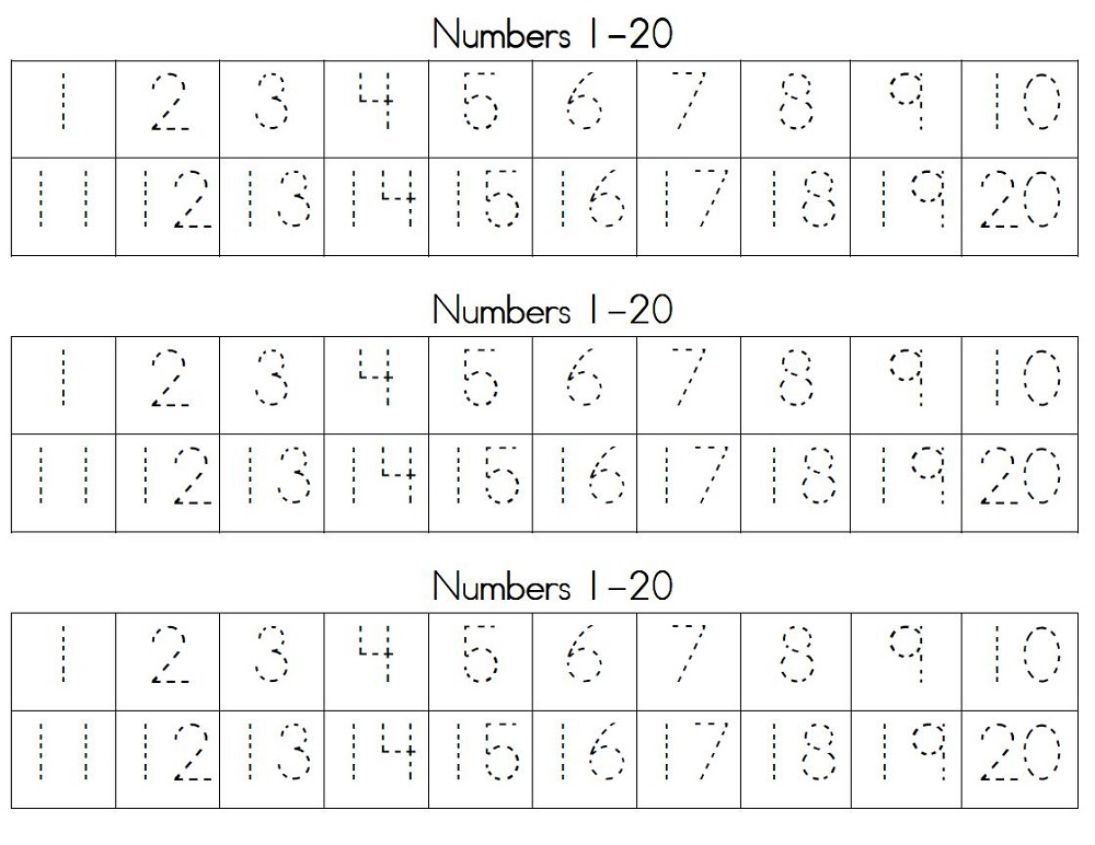numbers 1-20 worksheets tracing