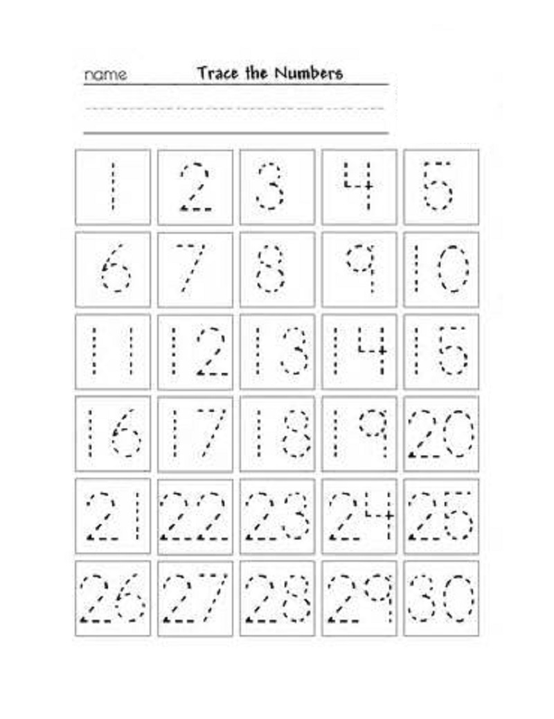 numbers 1-30 worksheet trace