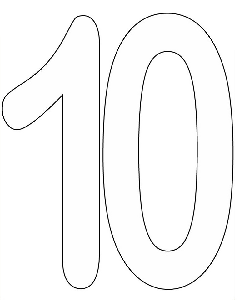 picture of number 10 printable