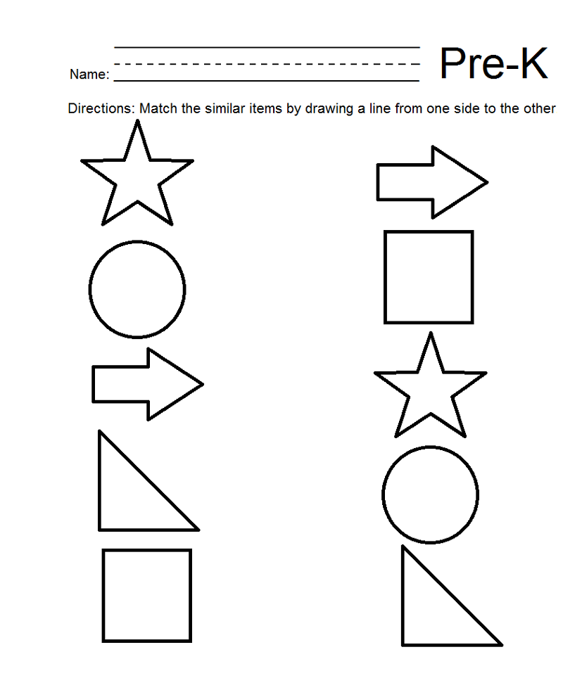 pre k shapes worksheets matching
