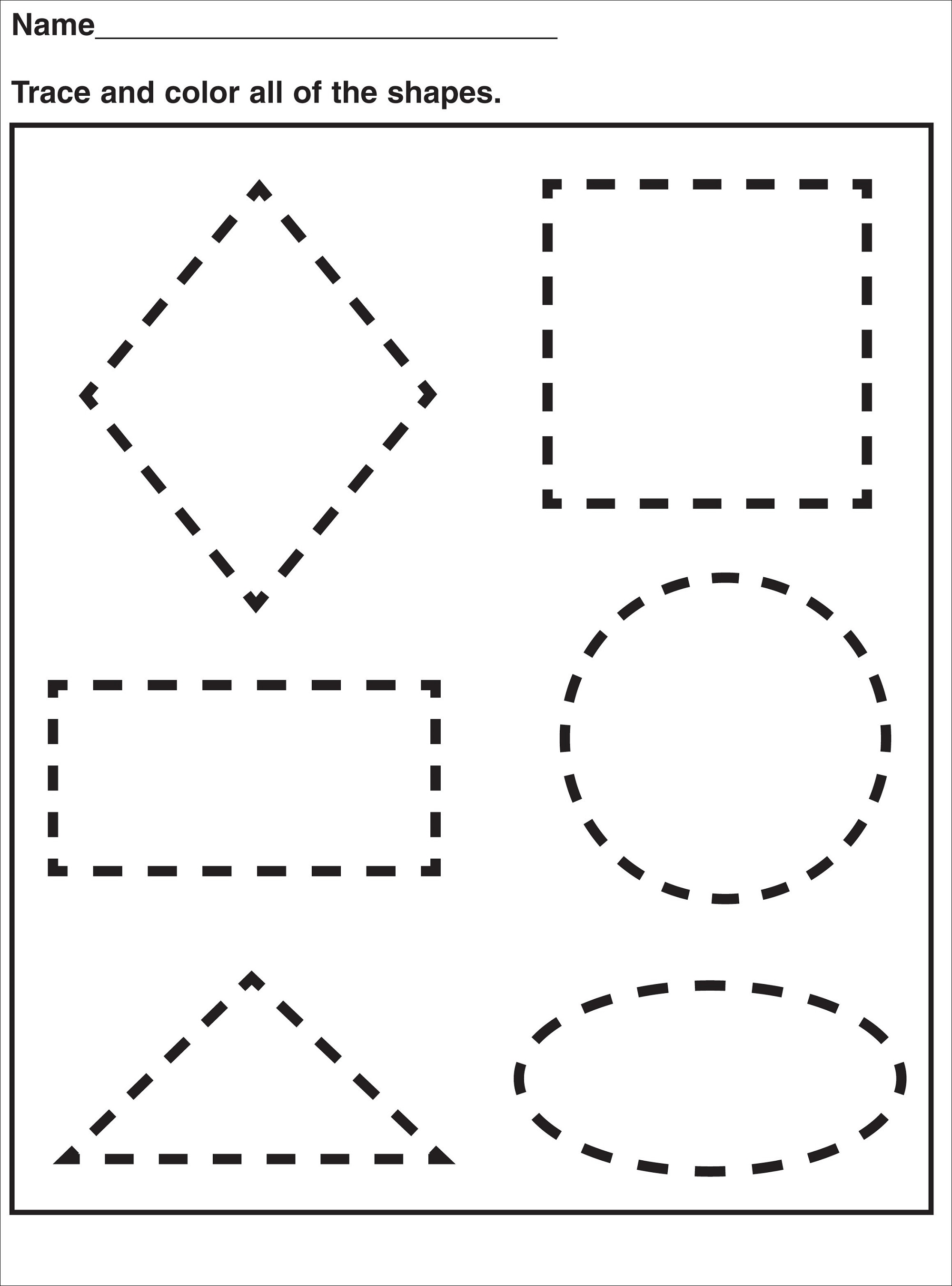 pre k shapes worksheets simple